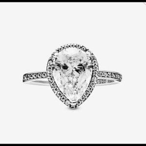 Pandora Sparkling Teardrop Halo Ring Size: 6
